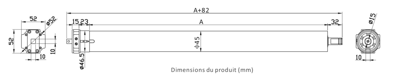 Dimension moteur volet roulant filaire AOK